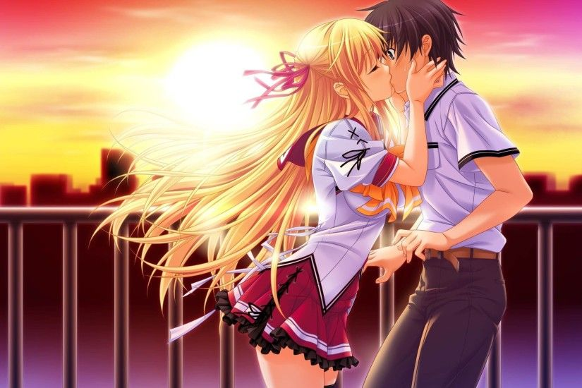 2300x1348 Anime-Girl-Boy-Beautiful-Kiss-Wallpaper - HD Wallpaper &