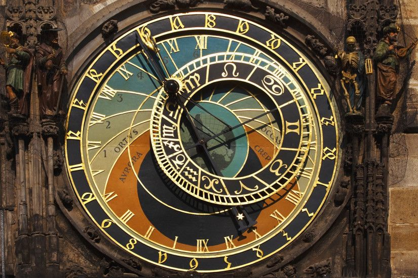 Preview wallpaper astronomy, prague, watches, czech republic 3840x2160