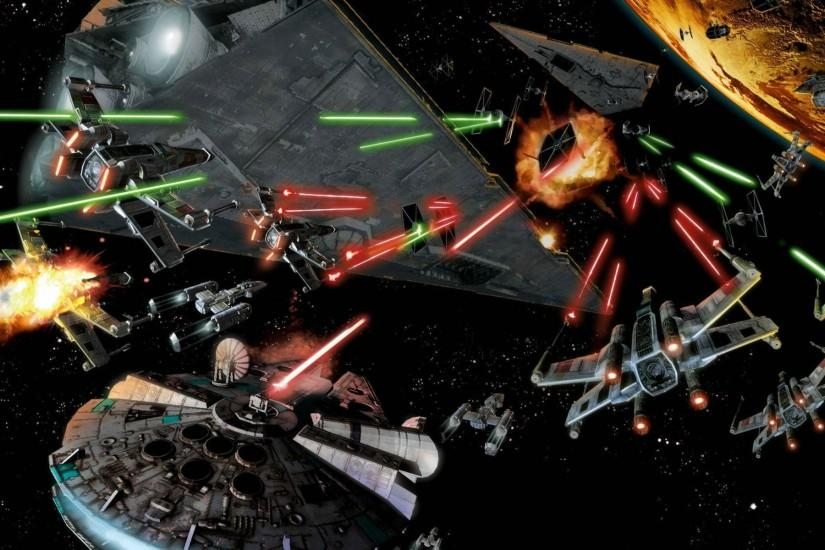 Space Battle Star Wars Millennium Falcon Art wallpaper | 1920x1200 | 79577  | WallpaperUP