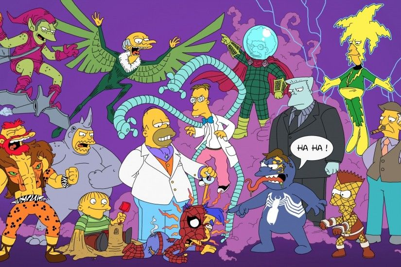 1920x1080 Wallpaper the simpsons, simpsons, spiderman, superheroes