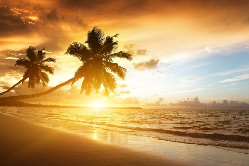 Tropical Beach Sunset Desktop Wallpaper