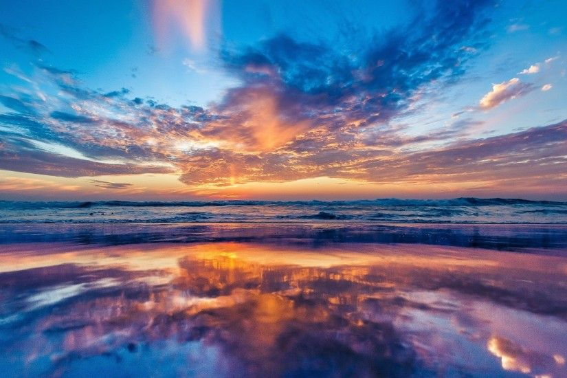 2048x1152 Wallpaper ocean, sea, sky, sunset, beach