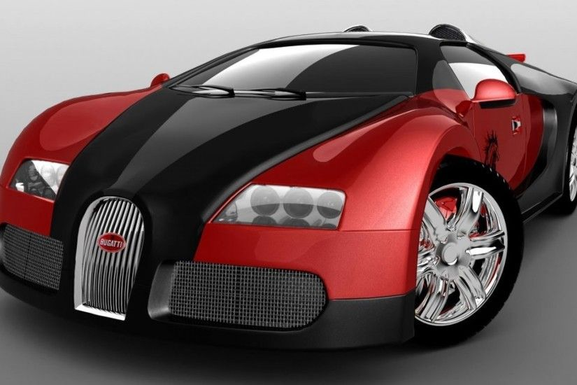 Black and red Bugatti Veyron Super Sport on grey background