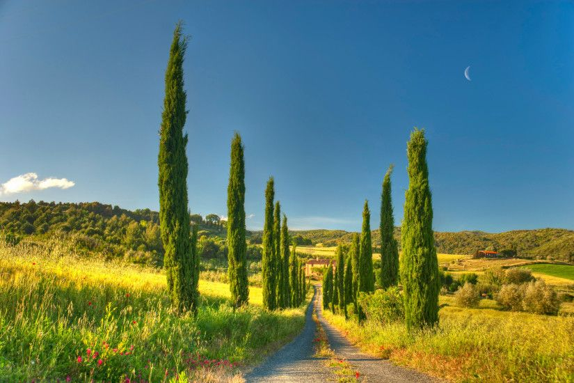 Landscapes - House Tuscany Cottage Country Villa Road Nature Wallpapers  Photos for HD 16:9