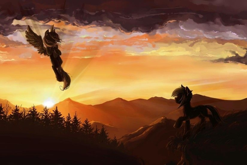 my little pony ponies pegasus sunset mountain forest clouds