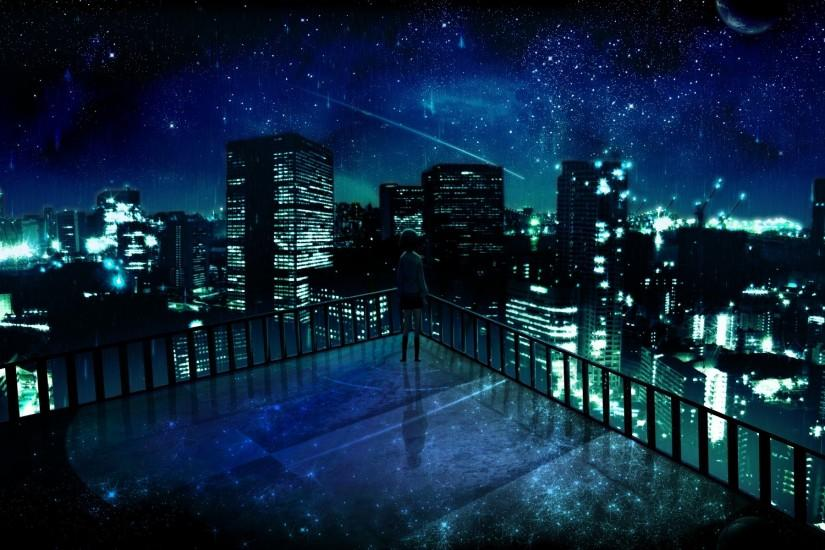 skyline, Stars, City, Anime Wallpaper HD