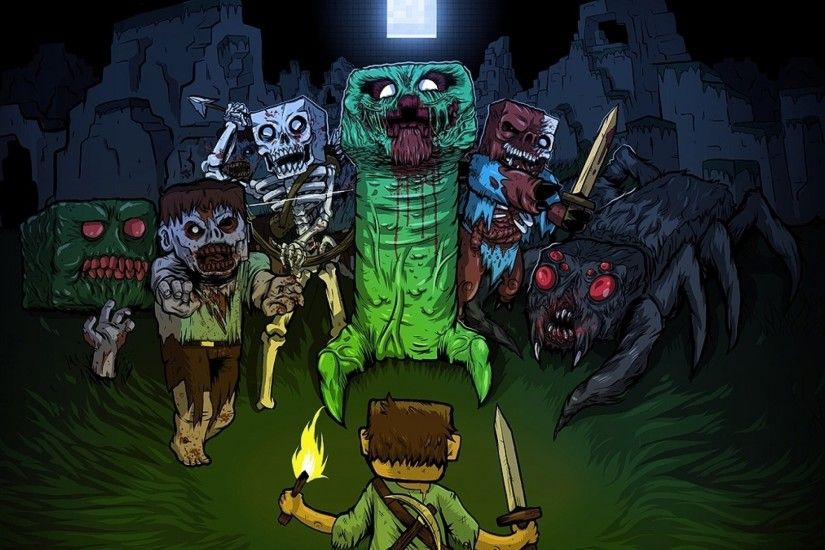 Minecraft, Creeper, Video Games, Zombies, Spider, Steve, Night Wallpapers  HD / Desktop and Mobile Backgrounds
