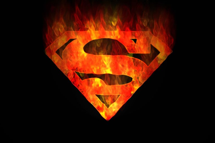 DC Comics, Superman, fire, Superman Logo, black background - Free Wallpaper  / WallpaperJam.com