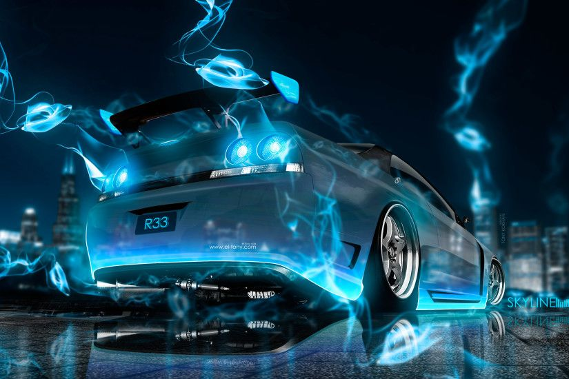 Beau Nissan Skyline GTR R33 JDM Tuning 3D Super Crystal City Night Energy Art