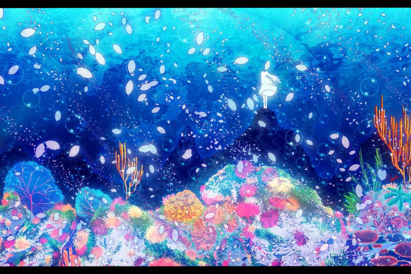 deep-sea girl (vocaloid) hatsune miku petals underwater vocaloid water  wallpaper