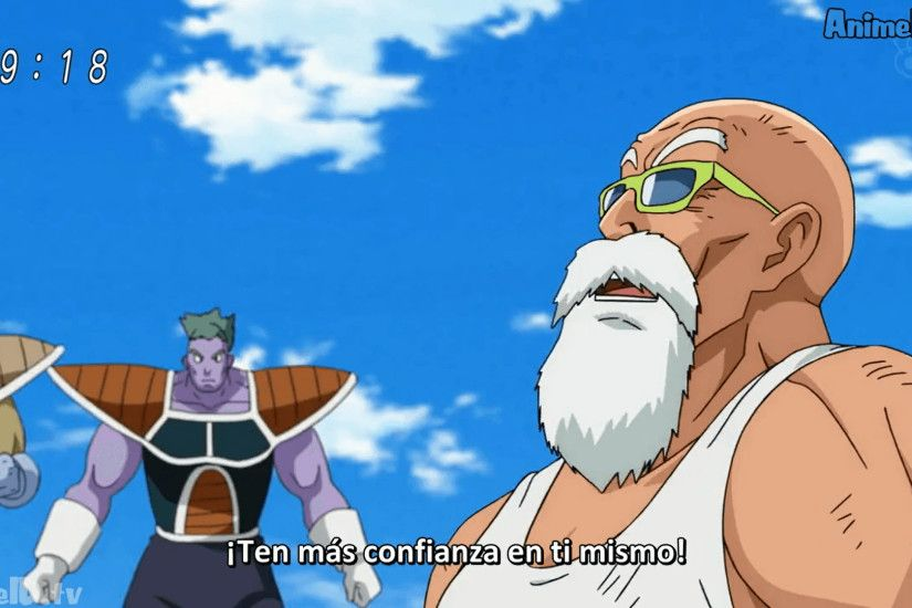 Master Roshi talks with Krillin about Frieza's men in DBSuper EP21 32.png