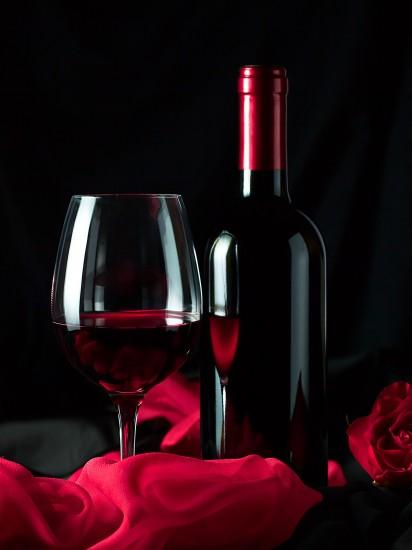Photos Wine Food Bottle Stemware Black background 2048x2732