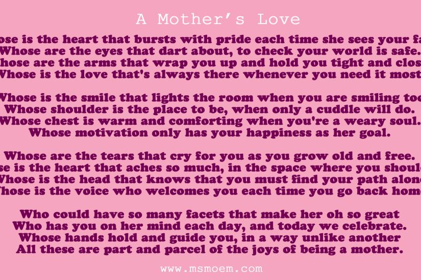 Mothers Love Poem