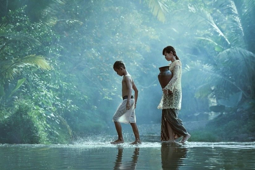 children boys girl village river pitcher jungle sister brother creek go  return home water children kids