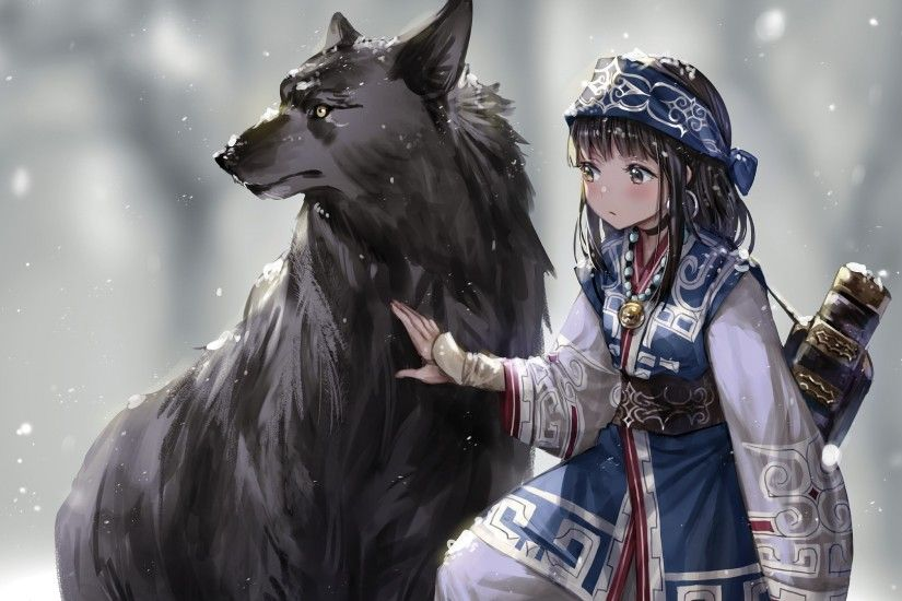 Anime 1920x1080 fantasy art anime snow wolf winter anime girls original  characters