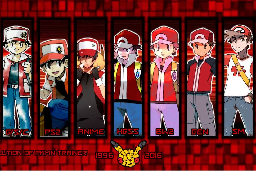 ... Evolution Of Pkmn Trainer Red Wallpaper by MattPlaysVG