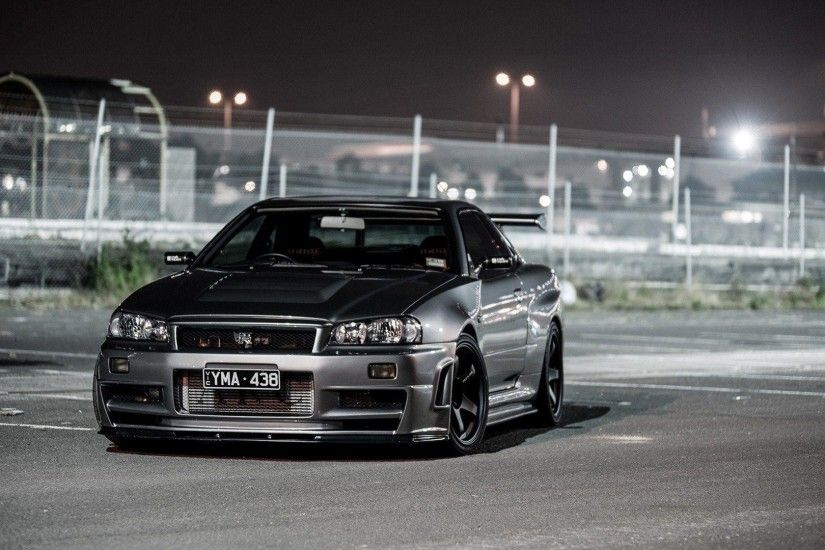 Black Nissan Skyline R34 Street Fence Night Lights HD Wallpaper .