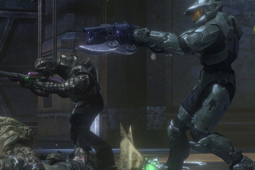 Halo 3 Floodgate Master Chief and The-Arbiter working together.