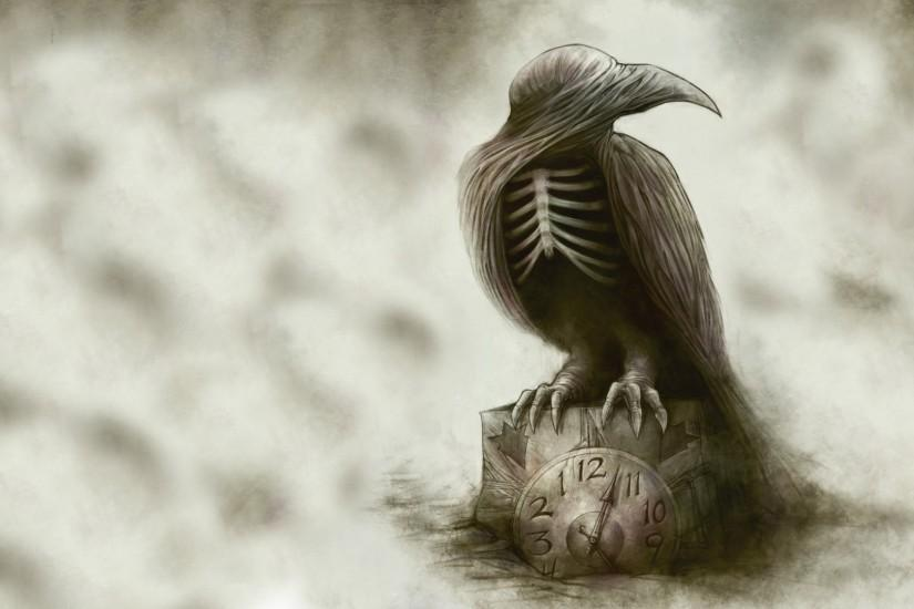 goth raven | ... Clock Drawing Abstract Creepy Skeleton poe raven gothic  dark wallpaper