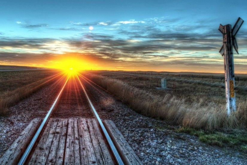 Plains Tag - Sunrise Track Train Plains Tracks Amazing Clouds Sky Wallpaper  Background for HD 16