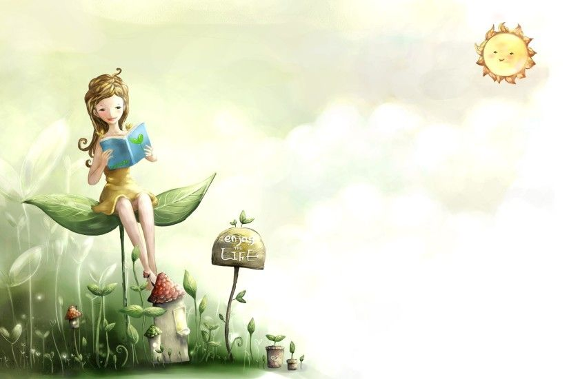 Girl Reading Book Wallpaper