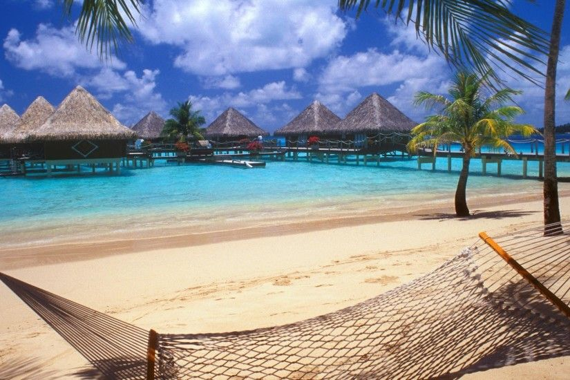 Bora Bora, Tahiti, Resort, Beach, Hammocks, Palm Trees, Sand, Sea,  Vacations, Walkway, Bungalow, Nature, Landscape Wallpapers HD / Desktop and  Mobile ...