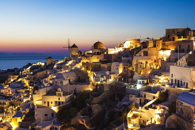 Greece Houses santorini Night Cities Wallpapers and photos