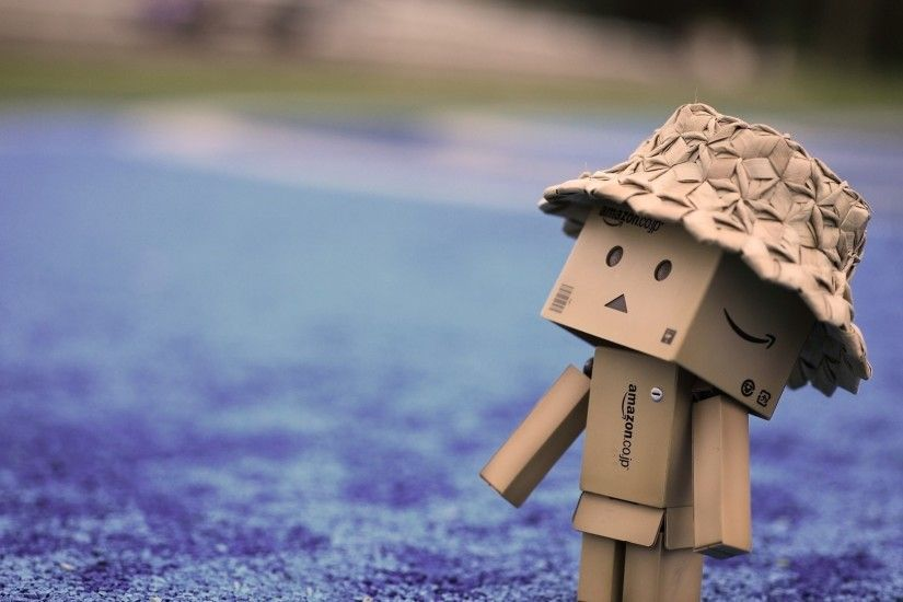 Preview wallpaper danbo, cardboard robot, hat, walk 1920x1080
