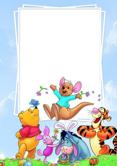 Cute PNG Frame with Winnie the Pooh and Friends