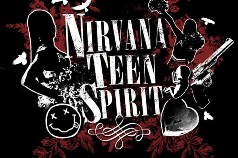 Nirvana Logo | Nirvana Teen Spirit - Logo with black background