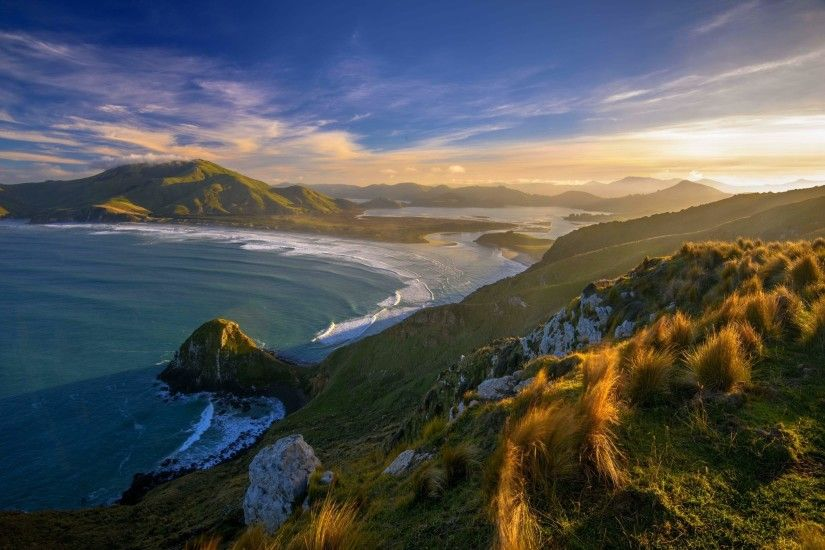 sunset, Beach, Grass, New Zealand, Sea, Mountain, Clouds, Nature, Landscape  Wallpapers HD / Desktop and Mobile Backgrounds