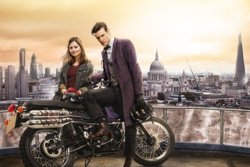 1920x1080 Wallpaper doctor who, matt smith, jenna-louise coleman,  motorcycle, london