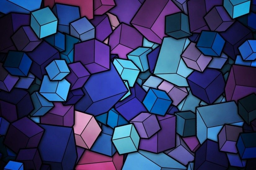 Stained Glass Geometry Cubes HD Wallpaper. « »