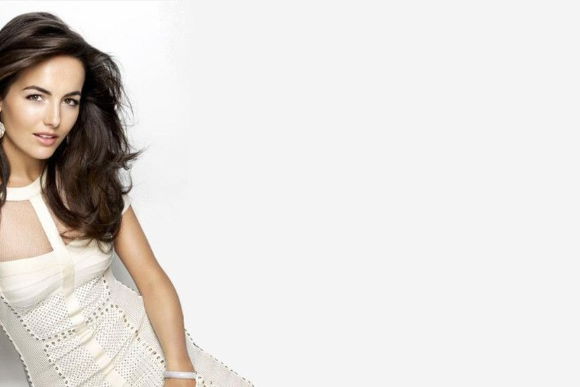 Beautiful Camilla Belle In White Dress White Background HD Wallpaper