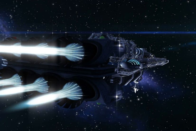 Futuristic deep space travel sequence with closeup on a detailed spacelab,  alien spaceship or military