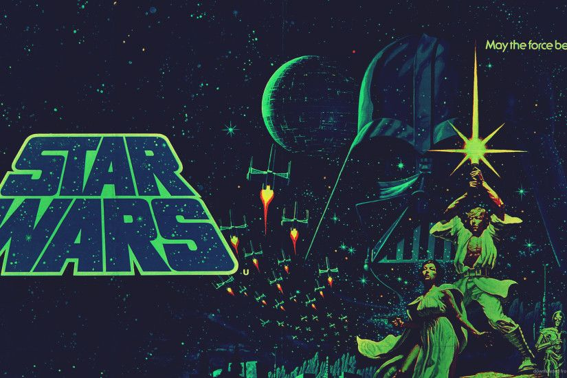 Star Wars Green Retro Poster for 1920x1080