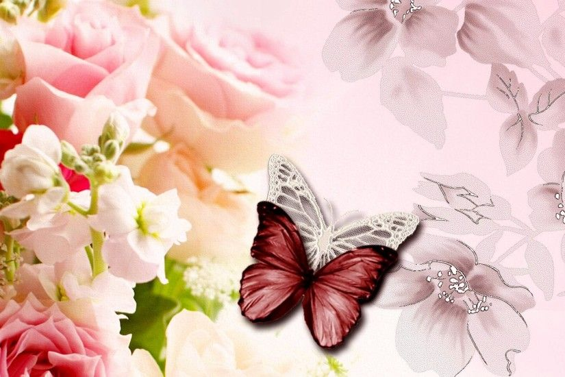 Butteflies and Roses HD Wallpaper