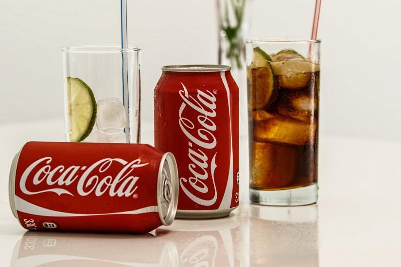 Preview wallpaper coca-cola, drink, glasses, ice 3840x2160