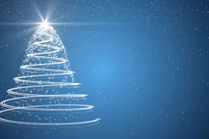Blue Christmas tree xmas holiday celebration winter snow animation  background