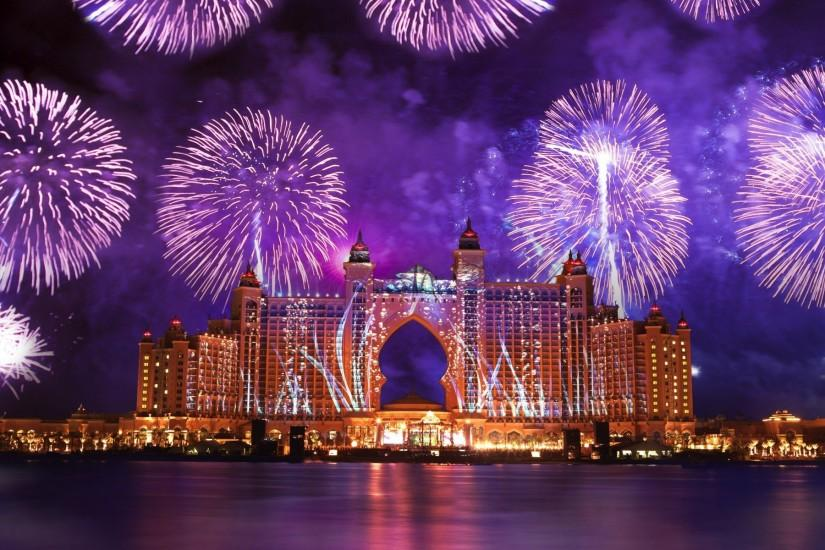 Beautiful fireworks on the architectural creation HD Desktop Wallpaper .