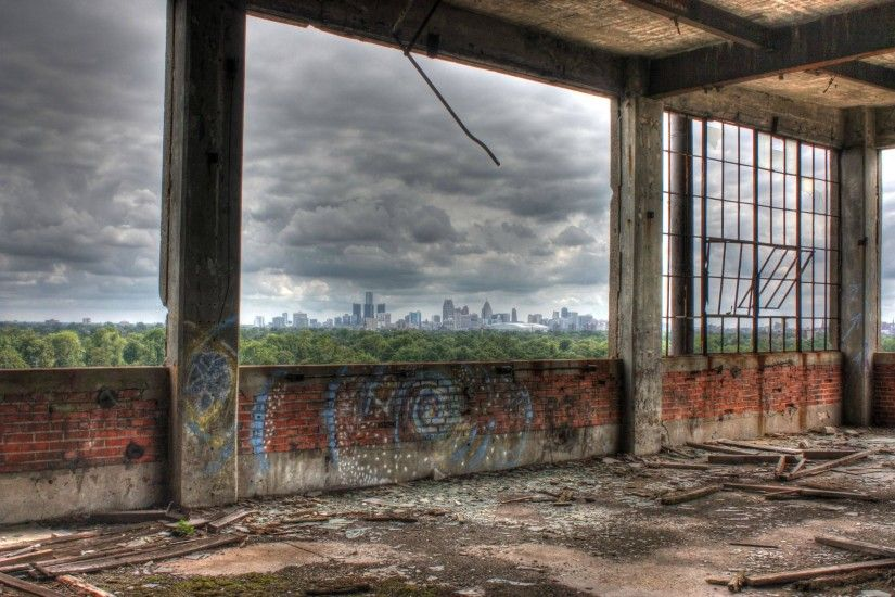 Detroit Skyline from Packard Plant [2623x1745] ...