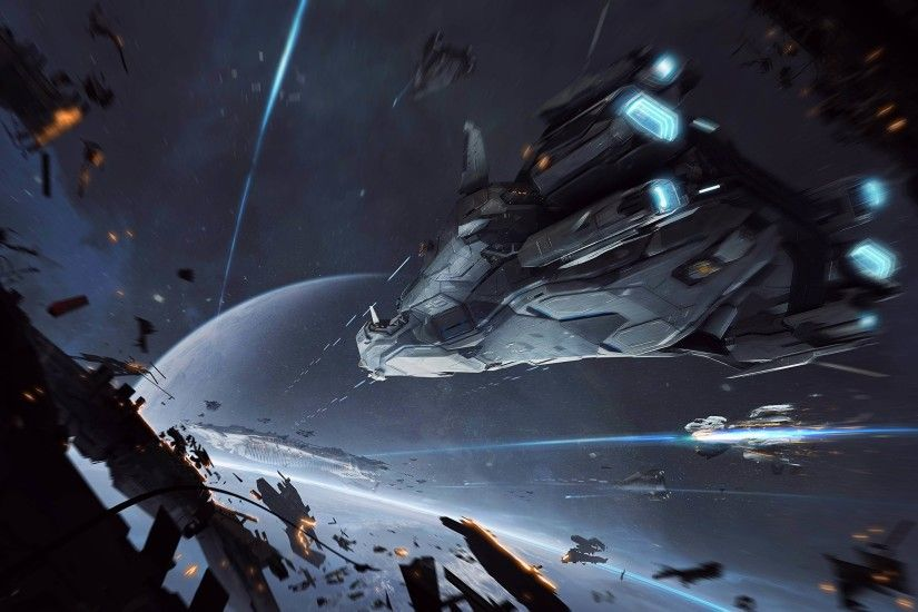 Photo Star Citizen Space Fantasy Games Ships Battles 2560x1440