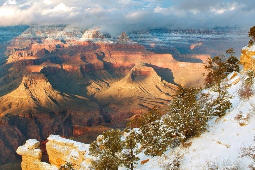 2560x1440 Wallpaper mountains, snow, winter, trees, canyons, height, arizona