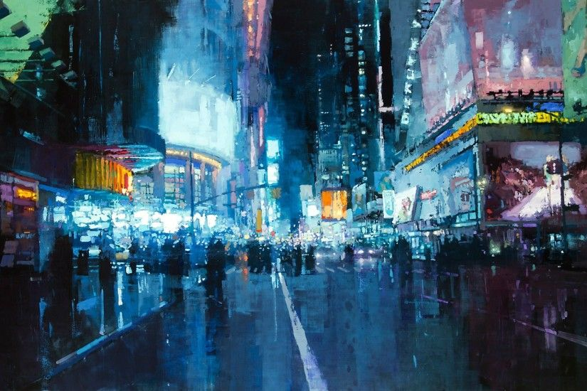 artwork, City, Road, Lights, Painting, Times Square, New York City Wallpaper  HD