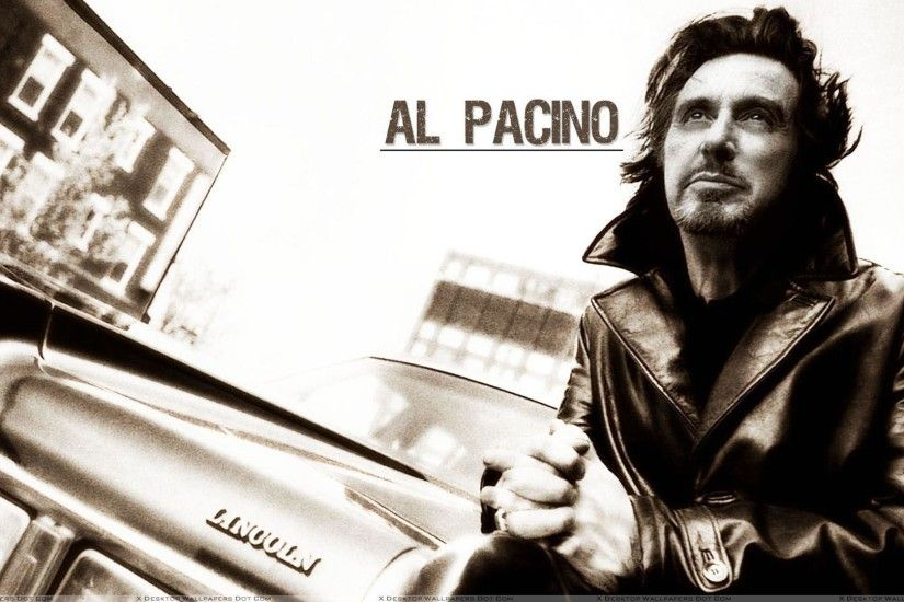 Legendary actor behind the vintage car Lincoln. Famous actor Al Pacino  background for you in sephia style.