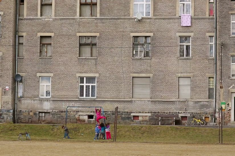 PREROV, CZECH REPUBLIC, MARCH 5, 2017: Ghetto poor in Prerov, Kojetinska  street with courtyard Gypsy, Gypsies residents life, authentic real  situations, ...