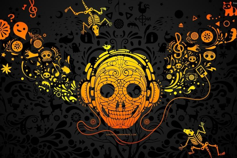Download Sugar skull with headphones