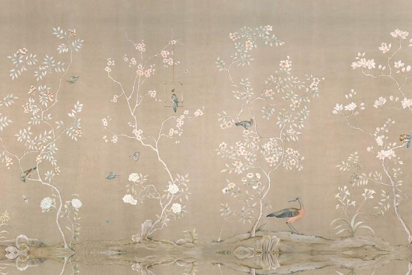 Chinoiserie (MU2011) : Hand painted Chinoiserie mural on canvas, measuring  15 feet long