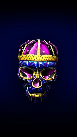 Preview wallpaper skull, art, bright, 3d 1440x2560