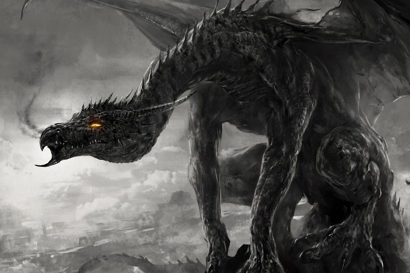 Download now full hd wallpaper black dragon smoke monster art ...